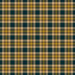 Fabric design tartan green and yellow pattern
