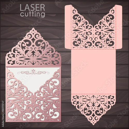 Laser cut wedding invitation envelope template vector wedding laser cut wedding invitation envelope template vector wedding invitation or greeting card with abstract lace stopboris Image collections