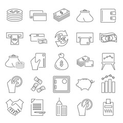 Set of money and finance line icons for web and mobile design
