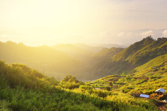 Wonderful scenery in mountains during summer colorful sunset.