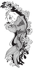 koi carp gold fish swimming upstream. Black and white vector illustration tattoo style drawing
