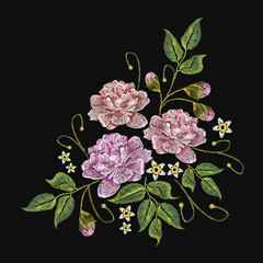 Embroidery peonies flowers vector. Classical embroidery pink peonies on black background, template fashionable clothes, t-shirt design