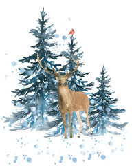 Moose winter. Elk in a forest. Illustration, greeting card, invitation. Watercolor