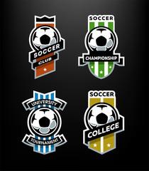 Set of Soccer Football logo, emblem on a dark background.