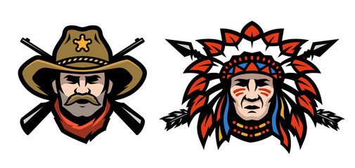 Head of cowboy and Indian.