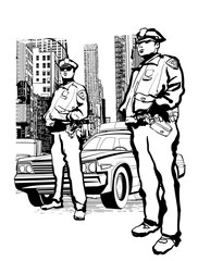 Policemen in the 5th avenue in New York
