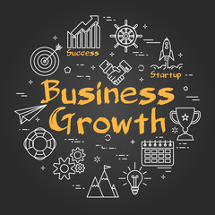 Chalk board concept - Business Growth