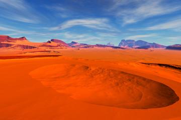Tuinposter Algerije Alien Planet. Rocks and sky. 3D rendering
