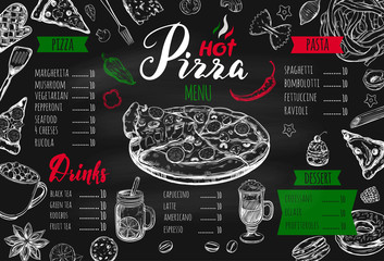 Italian food menu for restaurant and cafe. Pizza and Pasta vector concept. Design template with different hand drawn illustrations and handwritten Lettering