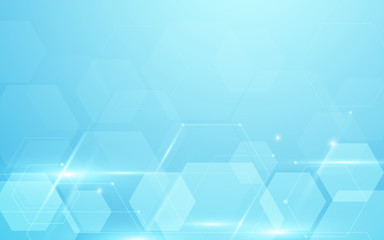 Abstract blue hexagons hi tech technology concept background. Space for your text