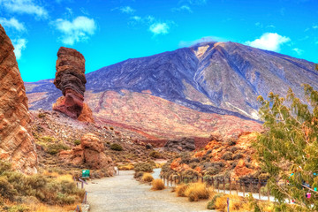 Teide volcanic mountain and the famous Roques de Garcia in National Park of Tenerife, Canary island, Spain