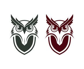 Animal Head Owl with Shield on the Body Illustration Logo Symbol