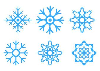 Vector illustration of snowflakes isolated on white background. Christmas icon. Xmas decoration.