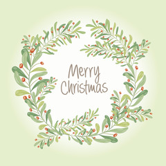 Christmas wreath composition of  mistletoe, fir branches, cones, holly and other plants. Cover, invitation, banner, greeting card. Vector illustration.