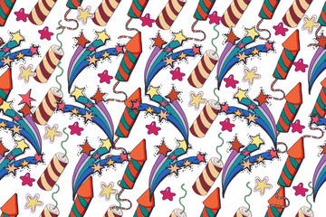 Vector holiday background. Hand drawn seamless pattern. Party .