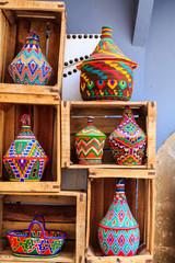 Colorful souvenirs in a shop in Morocco