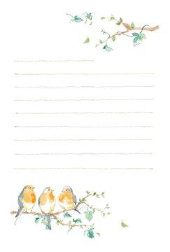 ロビンと木の葉、ポストカード、便箋