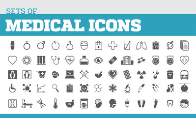 Illustration of icons for medical and medical metaphors. Universal icons for medical.