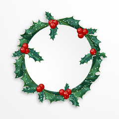 green Christmas vector wreath with holly berries and snowflakes on white background with place for text