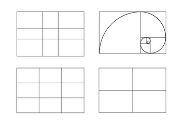 rules of photo composition. golden ratio, Rule of thirds (rule of thumb), vector illustration.