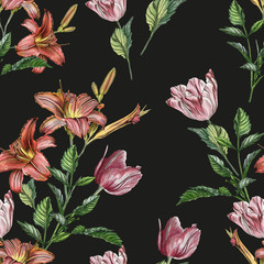 Photo sur Aluminium Fleurs Vintage Floral seamless pattern with watercolor lilies and tulips