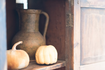 Still life with pumpkins and pitcher
