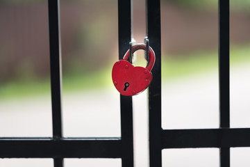 Closed red padlock on iron fence. Lock as heart. Symbol of love and marriage