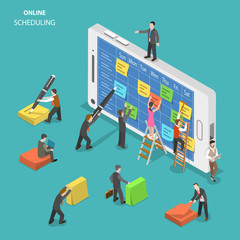 Online schedule flat isometric vector concept. People are filling a schedule on smartphone screen using colorful stickers and a pen.