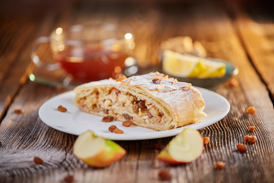 Apfelstrudel with raisins on a plate