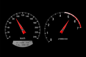 Speedometer and tachometer. Round scales on black background