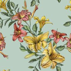 Photo sur Aluminium Fleurs Vintage Floral seamless pattern with watercolor daylilies