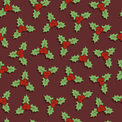 Seamless Christmas pattern with holly berries