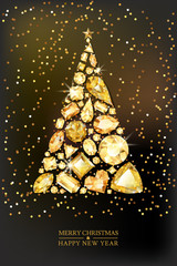Merry Christmas, Happy New Year greeting card. Vector golden 3d style christmas tree made from gold gems on black background. Holiday banner layout, flyer, poster with various diamonds, jewels.