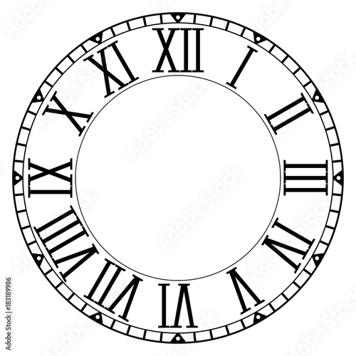 Clock face  Blank clock with roman numerals on white background