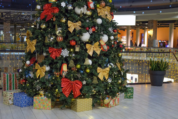 shopping mall background with Christmas decorations