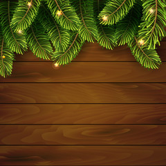 Christmas tree top frame on wood plank background. vector illustration