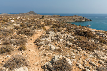 Coastline landscape on the way to the Kleoboulous's tomb in Lindos on the Rhodes Island, Greece.