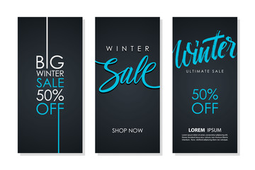 Winter Sale flyers set with hand lettering for business, commerce, promotion and advertising. Discount 50 percent off. Vector illustration.