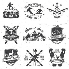 Ski and Snowboard Club emblem. Vector illustration.