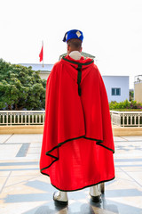 Guard seen from behind at the Mausoleum of Mohammed V in Rabat