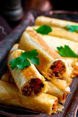 Turkish  lavash roll.style rustic.selective focus