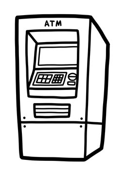 ATM / cartoon vector and illustration, black and white, hand drawn, sketch style, isolated on white background.