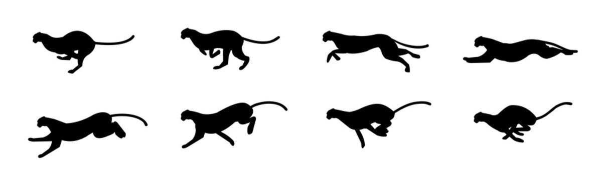 Cheetah run cycle Animation Sprite Sheet, Silhouette,  Animation frames, Running, Chasing