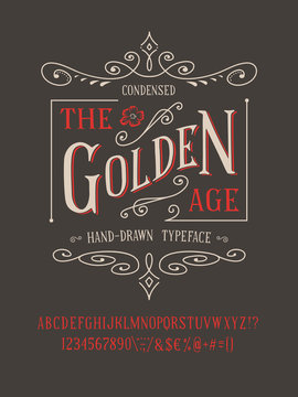 THE GOLDEN AGE FONT. Old retro typeface design. Hand made type alphabet. Authentic letters, numbers, punctuation. Script art for fashion apparel t shirt print graphic vintage vector badge label logo