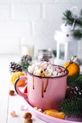 mug with hot chocolate with melted marshmallow