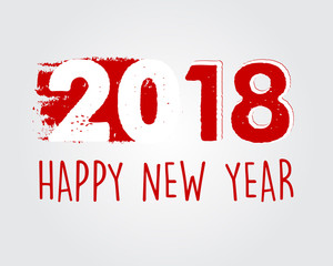 happy new year 2018 in red drawn banner