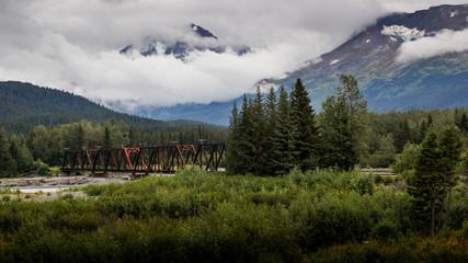 View of Old Rusting Bridge in Alaskan Wilderness