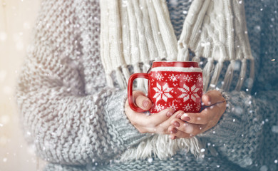 mug in hands on snowy background