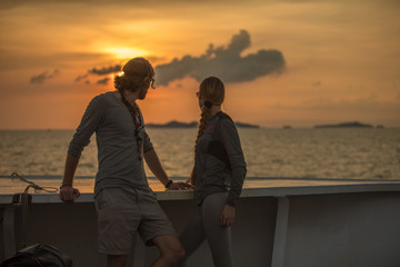 couple watching sun set