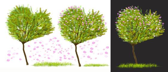 Heart shape tree has pink flower element design